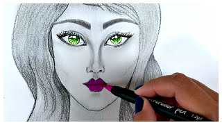 How to draw girl with purple lips / Pencil Sketch / Art Video