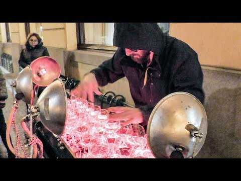 Bizet, Paganini, Mozart Played with Crystal Glasses. Street Artist Seen in Prague