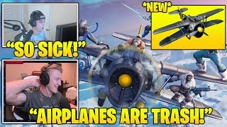 TFUE & Streamers *FIRST TIME* Using *NEW* 'Airplane' Vehicle IN Fortnite! (Fortnite FUNNY Moments)