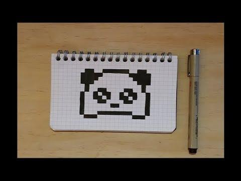 Pixel Art Facile Panda Noir Blanc