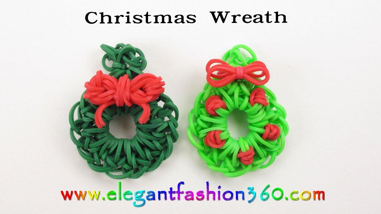 Easy Rainbow Loom Holiday/Christmas Wreath Charm(Hook) - How to ...