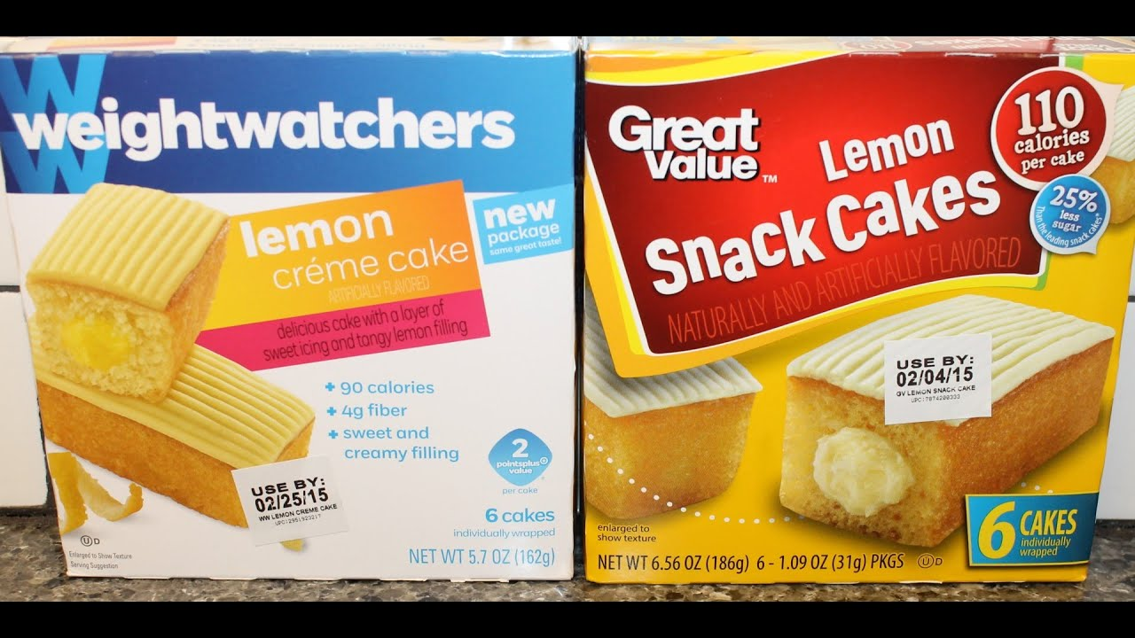 Weight Watchers Lemon Creme Cake Vs Great Value Lemon Snack Cakes