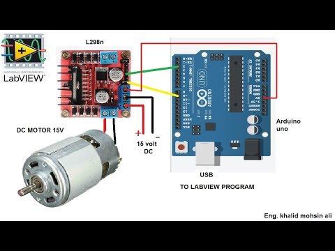 15 VOLT DC  MOTOR CONTROL SPEED BY L298n, ARDUINO AND LABVIEW. التحكم بسرعة موتور 15 فولت بواسطة