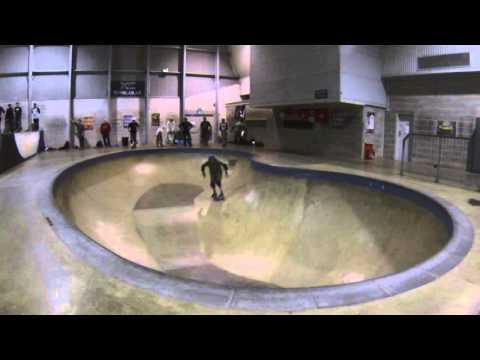 50 year old Sean Goff riding his new Moonshine deck for the first time at XC pool / skatepark