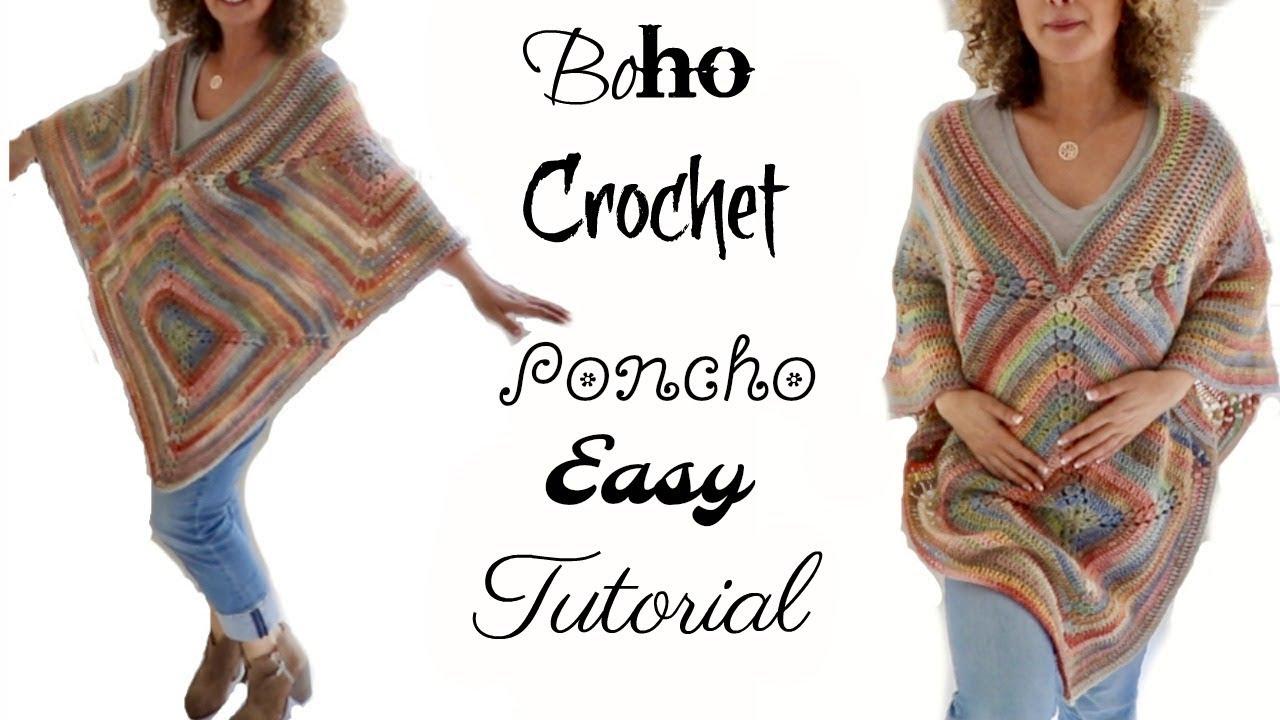 Fall Boho Crochet Poncho 2017 - YouTube