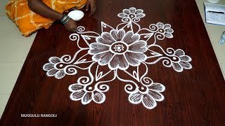 rangoli design images new cute freehand kolam Latest  rangoli muggulu   Latest Flower kolam