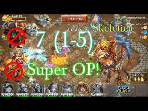 Skeletica Insane Dungeon 7(1-5) Gameplay Super OP! Castle Clash