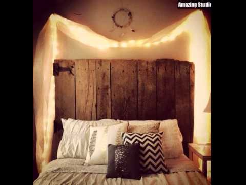 DIY Wooden Headboard with Curtain Lights