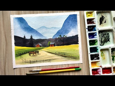 Watercolor Mountain Landscape Painting Tutorial | Artist Watercolor Paints | Draw with David