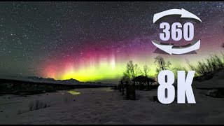 Milky Way and Aurora over Denali in 8K 360