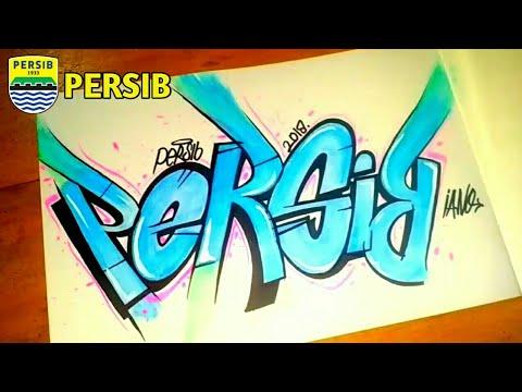 Cara Menggambar Graffiti Persib Bandung Youtube
