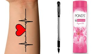 How to make a temporary tattoo   Diy tattoo with pen   diy temporary tattoo without eyeliner   ABCD