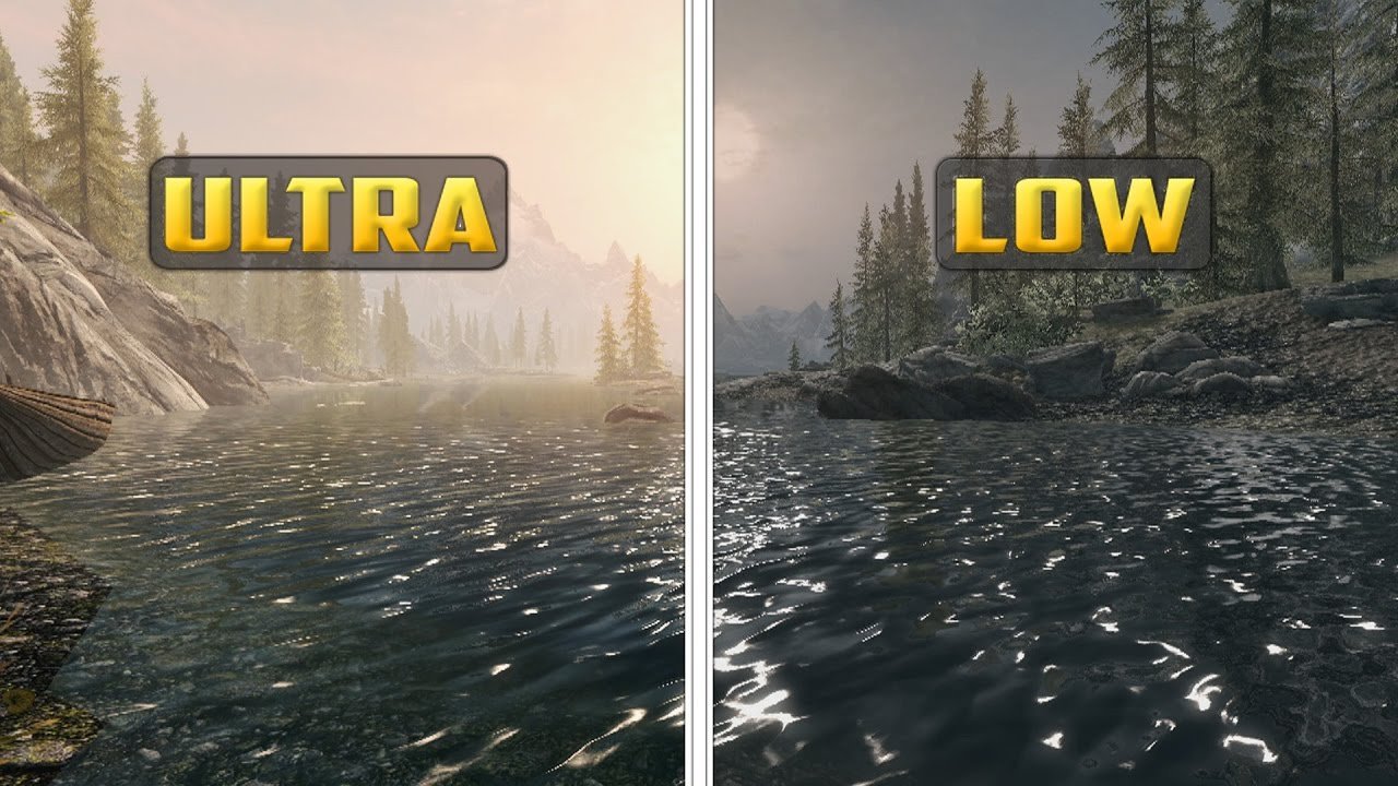 skyrim special edition graphics comparison low vs ultra youtube