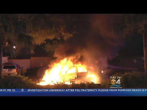 Hero Pulls Driver From Burning Car On Miami Beach