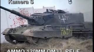 Leopard 2 Tank Firing - 120mm DM 33 rounds at Leopard 1 Tank Video 1