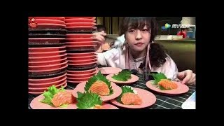 [Big Food ] Unbelievable, china hot girl eat 100 plate sushi for 45 minutes