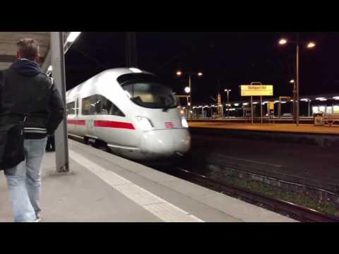 Deutsche Bahn (DB) Intercity Express (ICE) Train arrives in Stuttgart, Germany