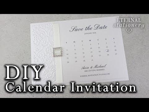 DIY Calendar style save the date card | Elegant embossed wedding invitation tutorial