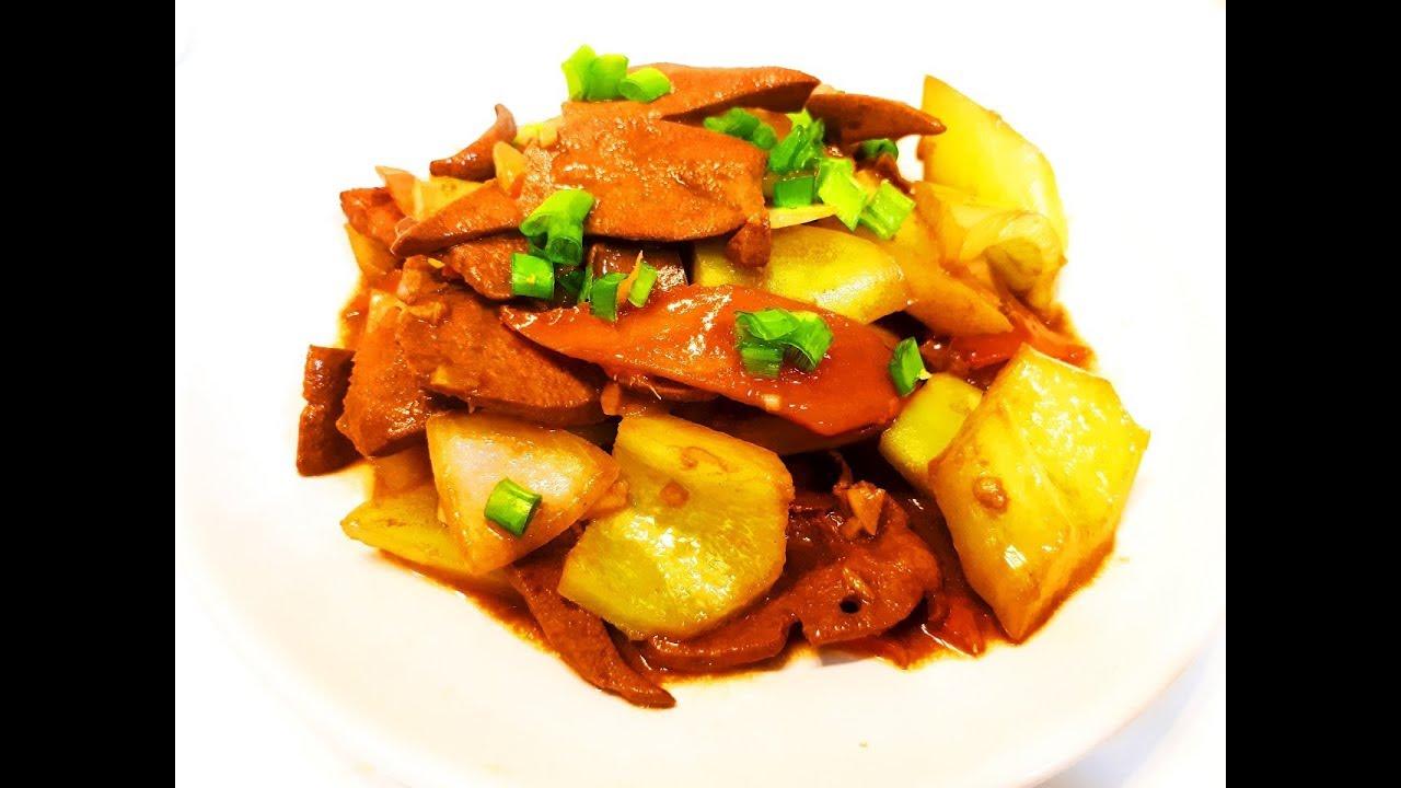 Китайская кухня.  Нежная печень с овощами.