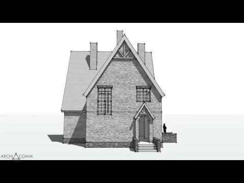 Эскиз №100.1. Дом в английском стиле. 100 м2. Библиотека архитектурных стилей.