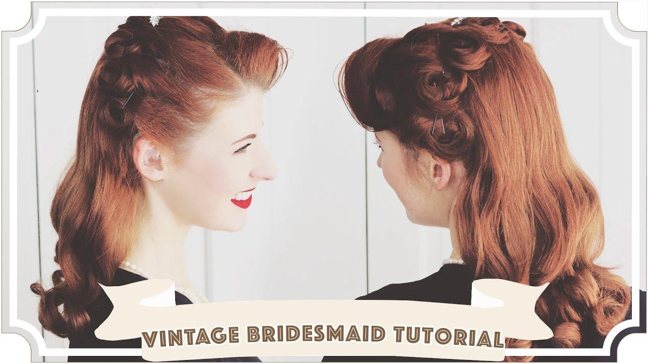 Vintage Bridesmaid Crown of Curls Hair Tutorial [CC] - YouTube
