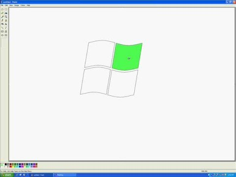 Drawing my first windows logo in paint for 1st window