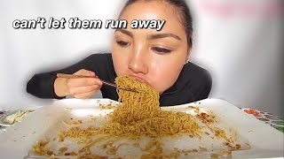 veronica wang eating like the food is running away from her for 3 minutes straight