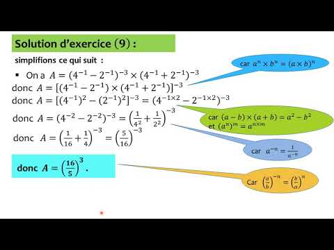 Calcul numérique : identités remarquables - puissances - exercice 9 - 3ème année du collège ...