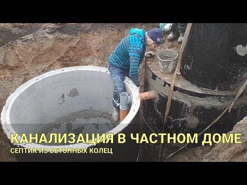 видео: Канализация в частном доме. Септик из бетонных колец.