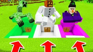 Minecraft PE : DO NOT CHOOSE THE WRONG SECRET BASE! (Mutant Creeper, Mutant Snow Golem & Witch)