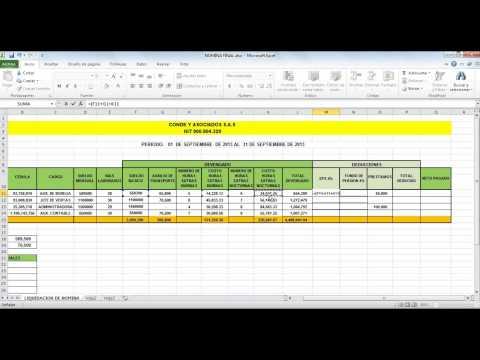 Como calcular una liquidacion de sueldo en microsoft excel for Liquidacion de nomina excel 2016