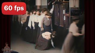 [4k,60 fps] 1904 Film | Edwardian Women clock in to work