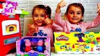 Свинка Пеппа в 🍨КАФЕ  ЕДА и ТОРТ для семейки СВИНКА ПЕППА из ПЛАСТЕЛИНА PLAY DOH Мультики для детей