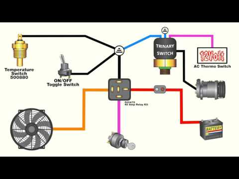 How to wire an electric fan with an AC trinary switch - YouTube Vintage Air Trinary Switch Wiring Diagram on