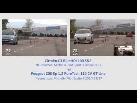 Comparativa Citroën C3 vs Peugeot 208. Maniobra de esquiva (moose test) y eslalon | km77.com .