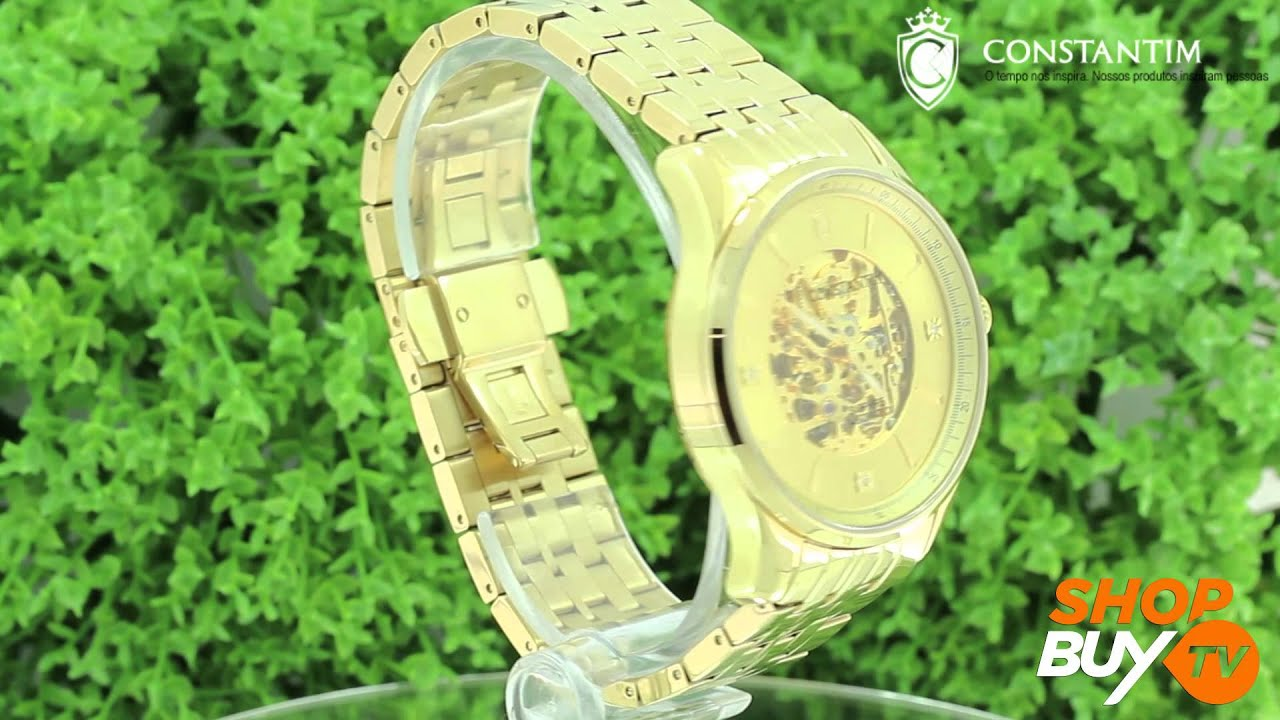 a62bb24ec63 Relógio Constantim Gents Gold - ShopBuy - YouTube