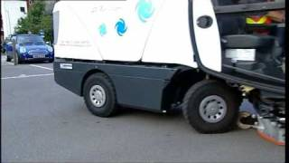 Johnston Sweepers CX200 Compact Street Sweeper for road sweeping in urban areas.