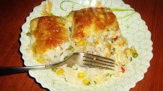 Рыбное филе (Треска) с гарниром запеченые под сыром