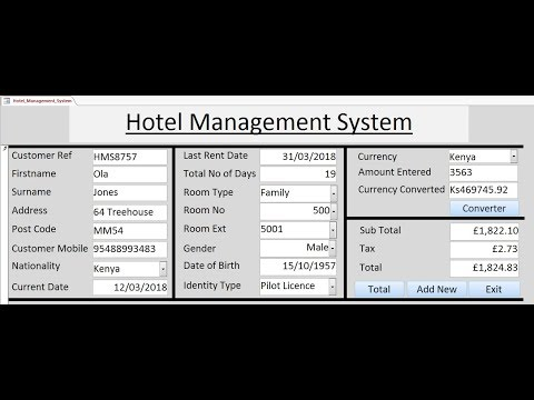 How To Create Hotel Management System In Microsoft Access 2016 Using VBA - Full Tutorial