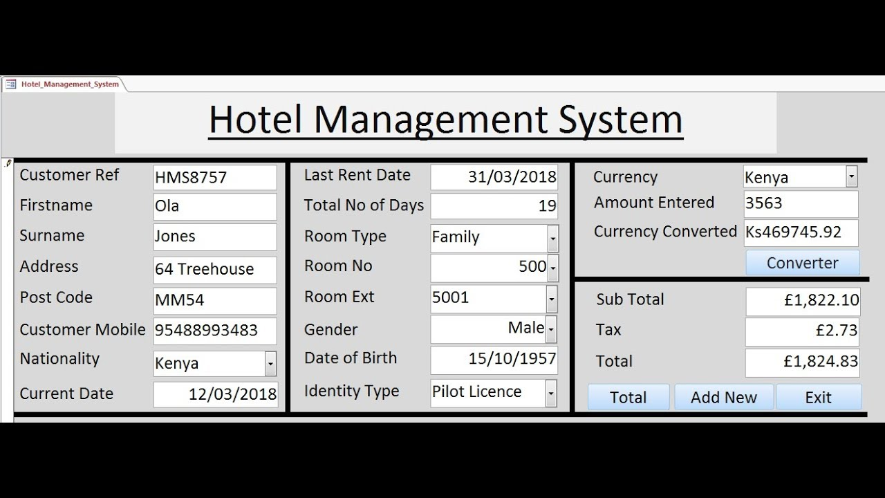 How To Create Hotel Management System In Microsoft Access