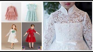 Lace Dress Designs For Kids Girl 2019-20=Little Girls Net Frock Design Ideas