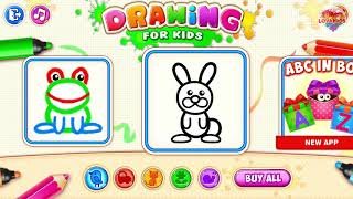 Learn Draw Coloring Line Animal Turtle, Frog, and Rabbit | Mini Draw | LOVAKIDS
