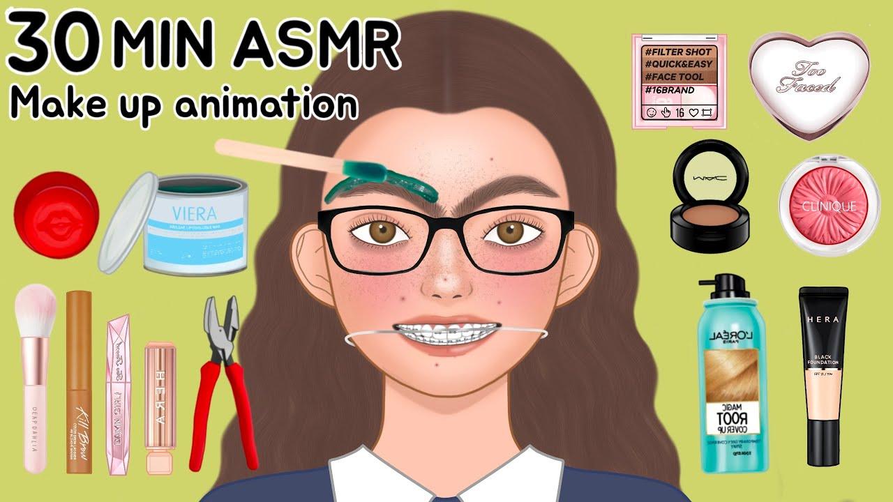 ASMR NO BGM 버전 메이크업 애니메이션 모음집 | 너드학생, 서양인, 토끼이빨, 여드름, 여신강림 | NO BGM ver. Makeup Animation Collection