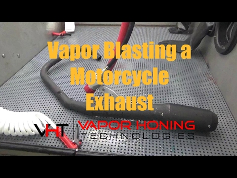 Vapor Blasting a Motorcycle Exhaust- Vapor Honing Technologies