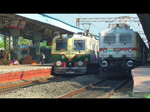 Four Trains on three Platforms at same time    Morning time Busy crossing at Chuchura