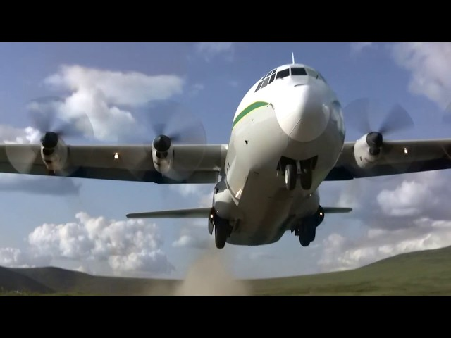 C-130 Landing and Takeoff at Remote Airfield in Central Alaska