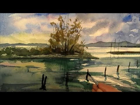 lake painting landscape in watercolour