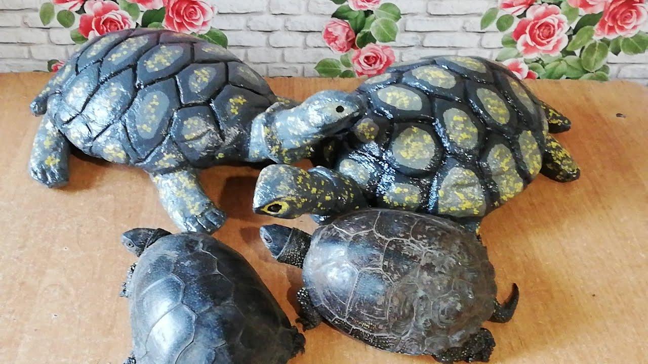 Черепаха из цемента, садовые скульптуры своими руками