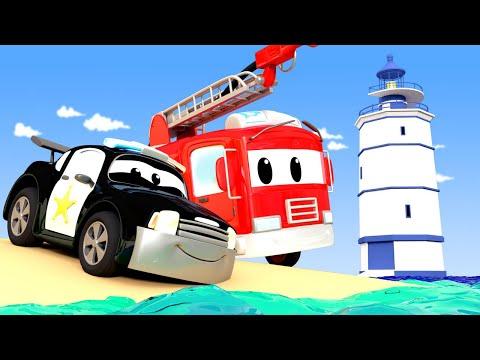 警车和消防车在汽车城 🚓 🚒  高速公路上刺眼的光线 - 国语中文儿童卡通片 Car City 動畫合集 - Chinese Police & Firetruck Cartoons for Kids