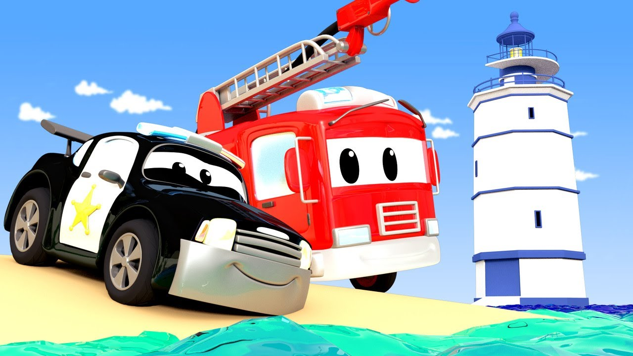 警车和消防车在汽车城 🚓 🚒  高速公路上刺眼的光线 – 国语中文儿童卡通片 Car City 動畫合集 – Chinese Police & Firetruck Cartoons for Kids